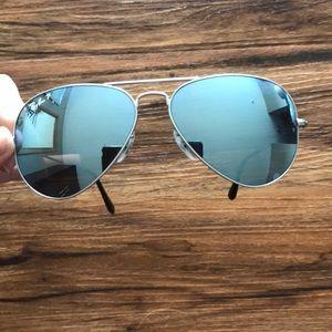 Ray-Bans, polarized, blue mirrored, silver trim
